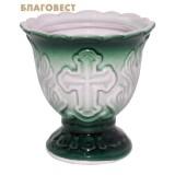 Лампада керамическая, цвет зеленый